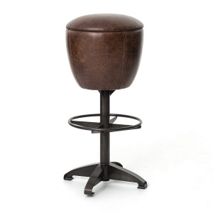 Baron Footrest Vintage Leather Barstool