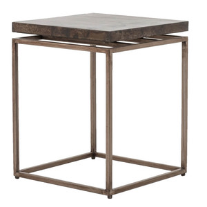 Roman Box Frame Industrial Iron  Side Table