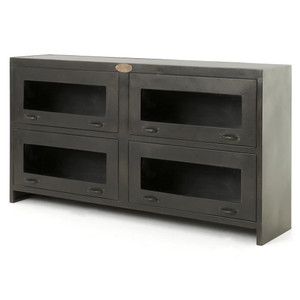 Shadow Box Antiqued Iron Media Cabinet 63""