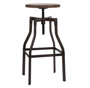 Industrial Rustic Wood and Metal Bar Stool