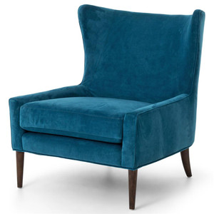 Marlow Upholstered Blue Wing Chair