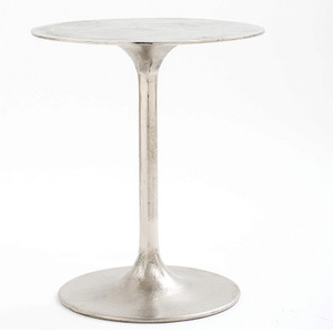 Tulip Raw Nickel Round Side Table