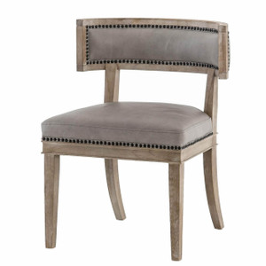 Carter Curved Grey Leather Dining Chair