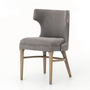 Task Dark Gray Nailhead Wing Dining Chair