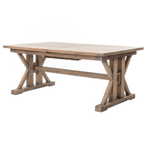Coastal Natural Wood Trestle Extension Dining Table 96""