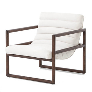 Fitz Mid-Century Modern White Nubuck Lounge Chair