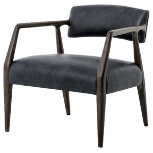 Tyler Mid-Century Modern Dark Oak Ebony Leather Arm Chair