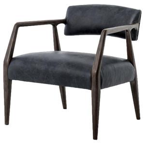 Tyler Mid-Century Modern Dark Oak Ebony Leather Arm Chair