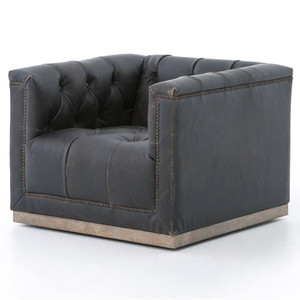 Maxx Distressed Black Leather Swivel Club Chair