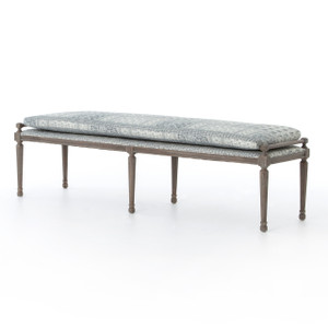 Lucille Batik Indigo Upholstered Bed End Bench