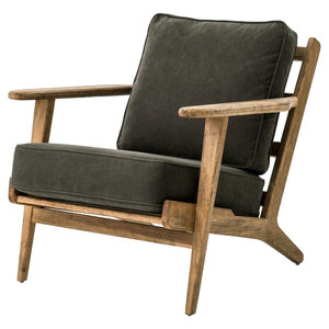 Mid-Century Modern Dark Green Upholstered Oak Club Chair