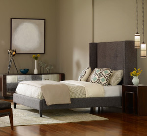 Metropolitan Charcoal Wingback Upholstered Queen Bed