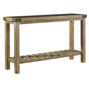 Industrial Chic Reclaimed Wood Bluestone Top Console Table