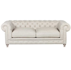 "Warner Linen Chesterfield 90"" Sofa"