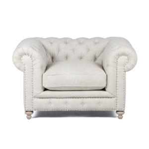 Warner Linen Chesterfield Chair