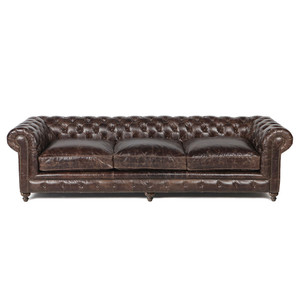 "Warner Leather 118"" Chesterfield Sofa"