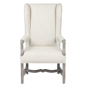 Clara French Wing Beige Linen Upholstered Armchair