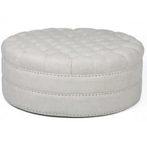 Nora Grand Linen Upholstered Round Tufted Ottoman