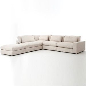 Bloor Beige Contemporary 5 Piece Corner Sectional Sofa