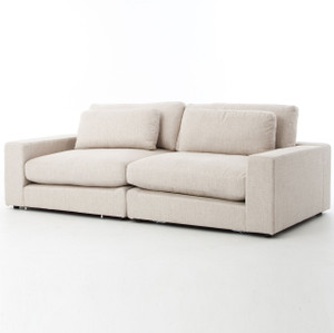 """Bloor Beige Upholstered Contemporary 2 Seater Sofa 92"""""""