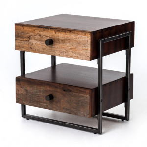 Milo Reclaimed Wood Industrial 2 Drawer End Table