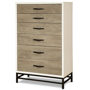 Modern Gray and White Tall 5 Drawers Chest