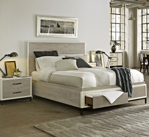 Modern Gray Platform Storage Bedroom Set - King