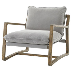 Ace Grey Pewter Oak Wood Living Room Arm Chair