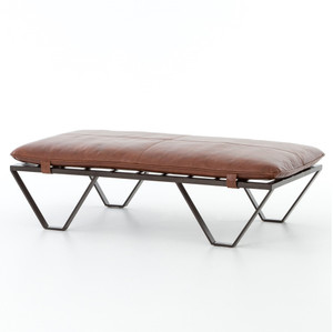 Darrow Tan Leather Ottoman with Geometric Metal Legs
