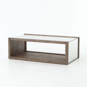 Hollywood Regency Grey Oak + Antiqued Mirror Coffee Table