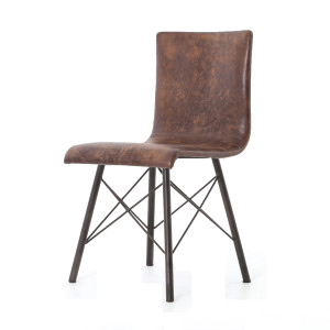 Diaw Distressed Brown Leather Dining Chair