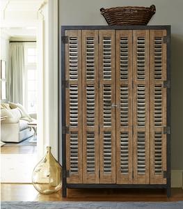 French Modern Industrial Double Door Vintner's Bar Cabinet