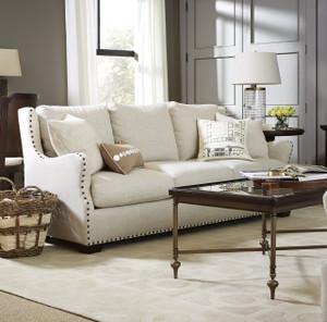 Connor Belgian Linen Upholstered Slope Arm Sofa