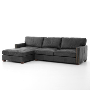 Larkin Vintage Black Leather Sectional Sofa with Chaise