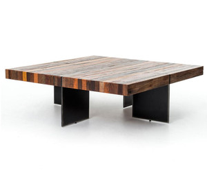 Alec Industrial & Rustic Square Coffee Table