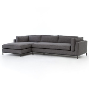 Grammercy Upholstered Modern 2 Piece Sectional Sofa - Charcoal
