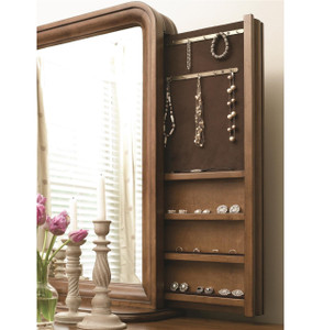 Louis Philippe Solid Wood Mirror with Jewelry Storage