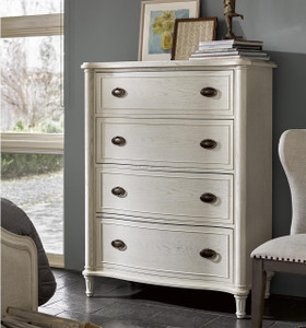 Amity French Oak Wood 4 Drawer Chest - White