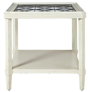 Sojourn French Country Glass Top End Table - White