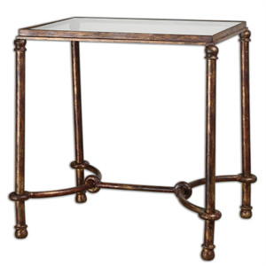 Warring Antiqued Bronze Metal + Glass End Table