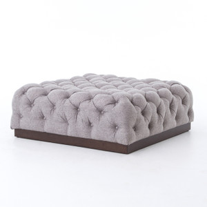 Plateau Tufted Linen Square Cocktail Ottoman