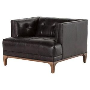 Dylan Mid-Century Modern Tufted Black Leather Chair