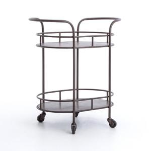 Teague Antiqued Brass Oval Bar Cart