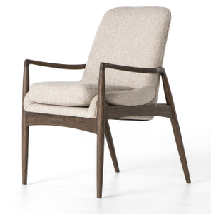 Braden Mid-Century Modern Upholstered Dining Arm Chair