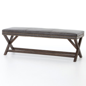 French Modern X-Base Leather Bench