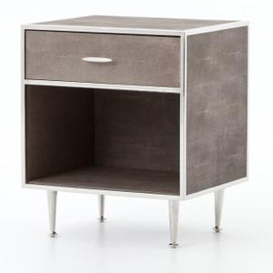 Hollywood Modern Shagreen Bedside Table - Silver