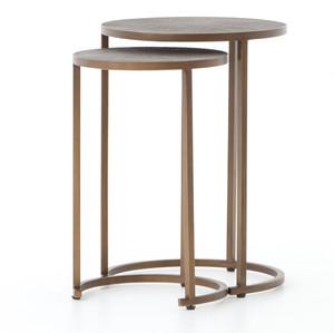 Hollywood Modern Shagreen Nesting Tables - Antiqued Brass