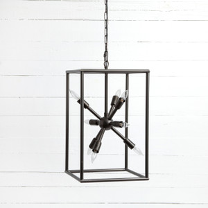 Sputnik Industrial Caged Tall Chandelier 25""