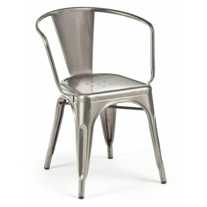 French Industrial Cafe Arm Chairs (Set of 4)