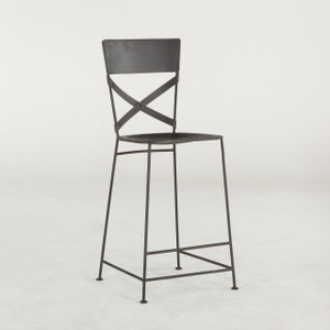 Steampunk Industrial Iron Bar Chair - Black